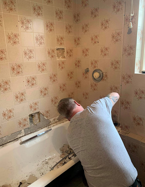 Bath removal and install of walk in shower 1